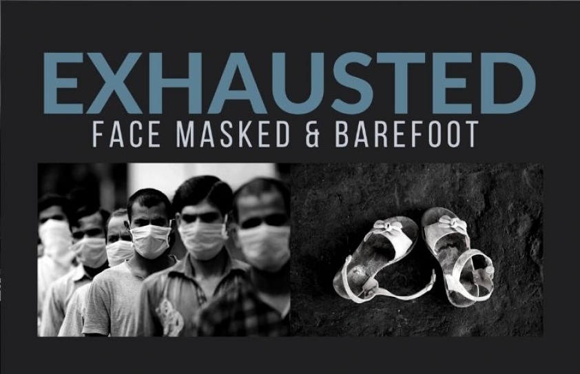 Exhausted: Face Masked & Barefoot